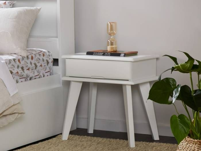 Left View of Room with Modern Toddler Bedroom Furniture containing Myer 3PCE Natural & White Single Bedroom Suite with trundle
