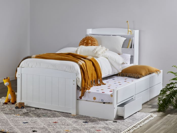 Room with Modern Toddler Bedroom Furniture containing Ari White Single Bed with Trundle, Storage & Bookshelf