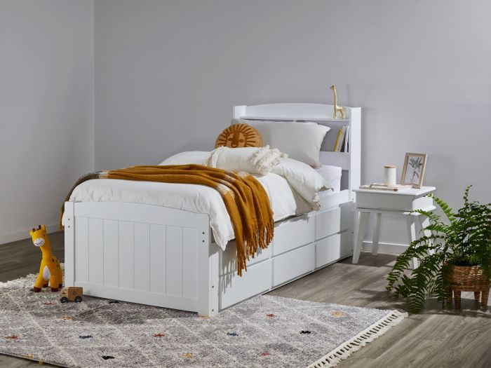 side view of Room with Modern Toddler Bedroom Furniture containing Ari White Single Bed with Trundle, Storage & Bookshelf