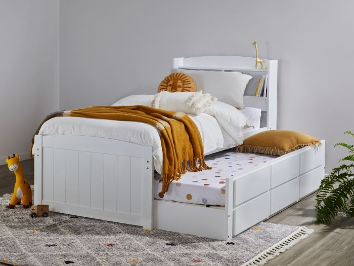 left view of Room with Modern Toddler Bedroom Furniture containing Ari White Single Bed with Trundle, Storage & Bookshelf