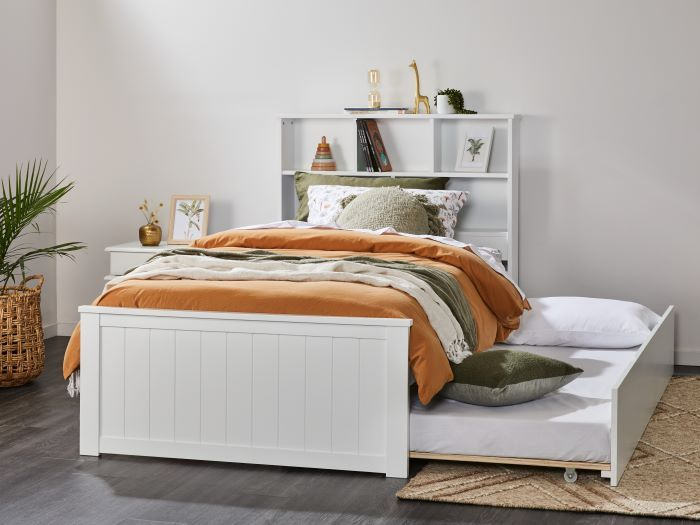 Room with Modern Kids Bedroom Furniture containing Myer 3PCE White King Single Bedroom Suite with trundle