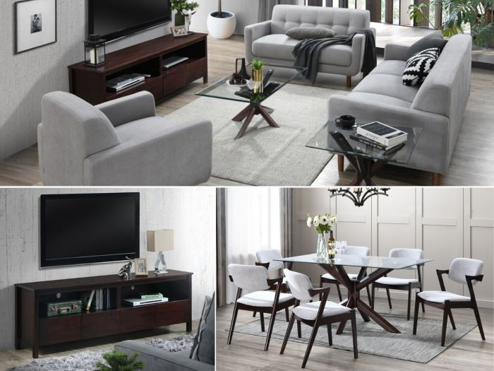 Room with modern living room containing Bella 12PCE Home Living & Dining Furniture Package