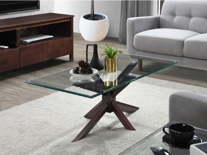 side view of Room with Modern Living Room Furniture containing Bella 2PCE Coffee & Lamp Table Set with Glass Top and Dark Hardwood Frame