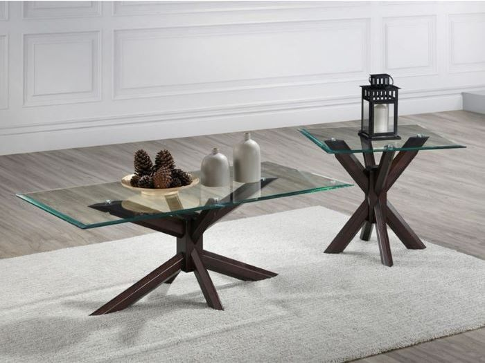 Room with Modern Living Room Furniture containing Bella 2PCE Coffee & Lamp Table Set with Glass Top and Dark Hardwood Frame