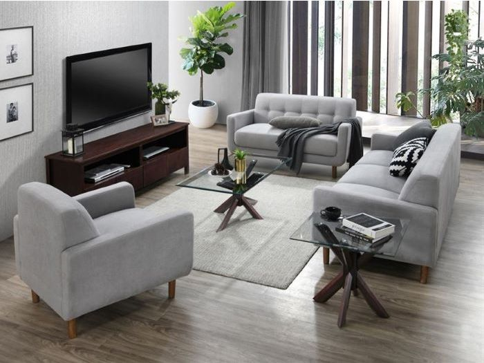 side view of Room with Modern Living Room Furniture containing Bella Coffee Tables with Glass Top & Chocolate Hardwood Frame