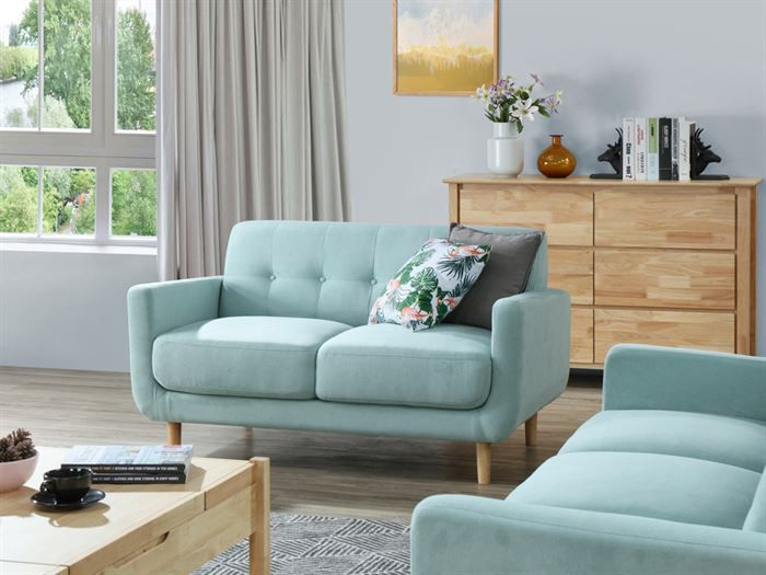 side view of Room with modern living room furniture containing Bella 1 + 2 + 3 Seater Sofa Set or Couch Set in Aquamarine Fabric