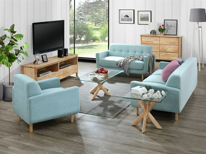 Room with modern living room furniture containing Bella 1 + 2 + 3 Seater Sofa Set or Couch Set in Aquamarine Fabric