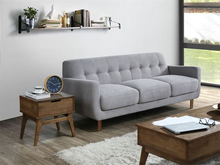 Front view of Room with modern living room furniture containing Bella 1 + 2 + 3 Seater Sofa Set or Couch Set in Grey Fabric