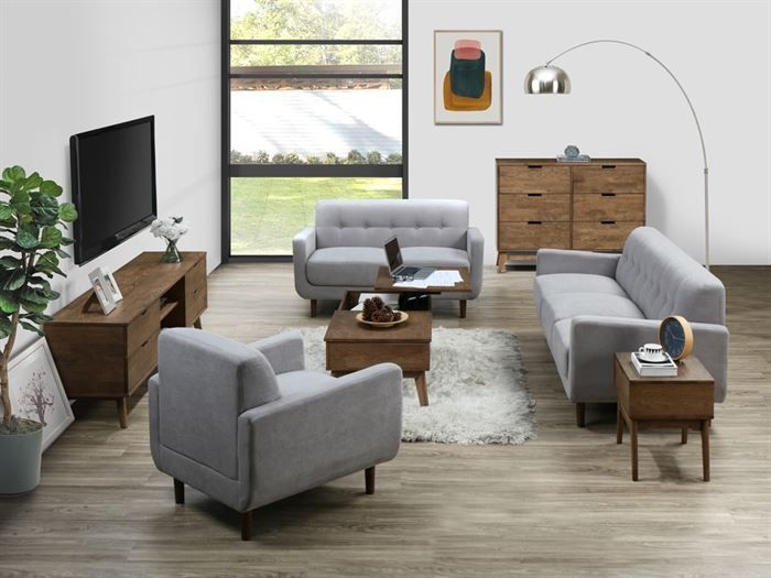 Room with modern living room furniture containing Bella 1 + 2 + 3 Seater Sofa Set or Couch Set in Grey Fabric