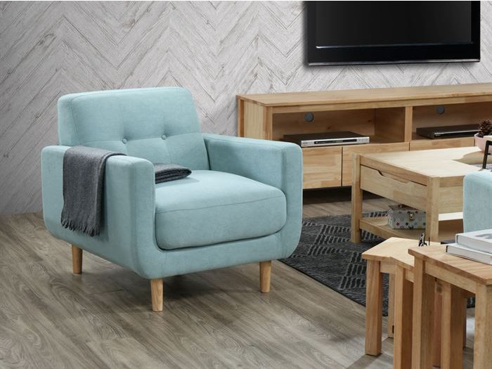 Room with modern living room furniture containing Bella Sofa Armchair or Occasional Chair in Aquamarine Fabric