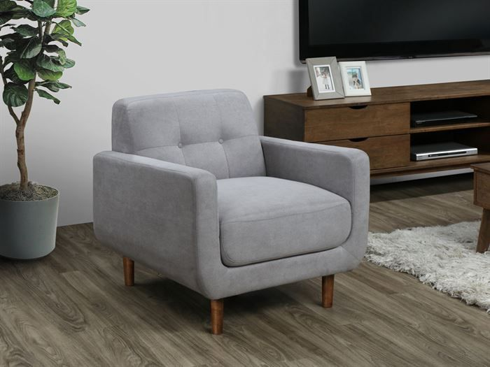 Room with modern living room furniture containing Bella Sofa, Armchair or Occasional Chair in Grey Fabric