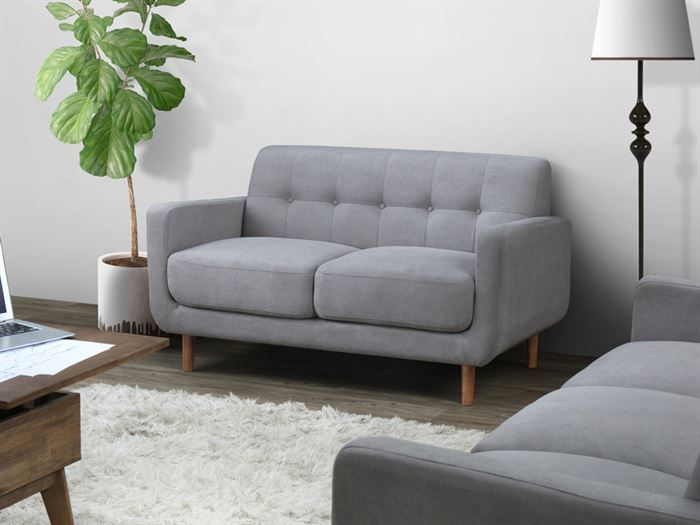 Room with modern living room furniture containing Bella Two Seater Sofa or Couch in Grey Fabric