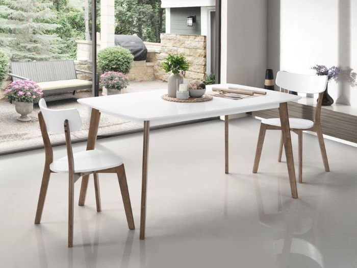 Room with Modern Dining Furniture containing Claire Dining Table with White Top, Hardwood Frame & Walnut Finish