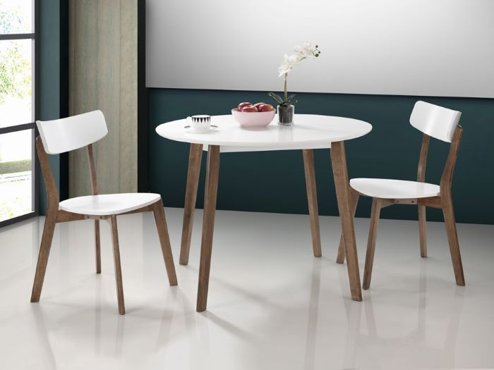 Room with Modern Dining Furniture containing Claire Round Dining Table with White Top, Hardwood Frame & walnut finish