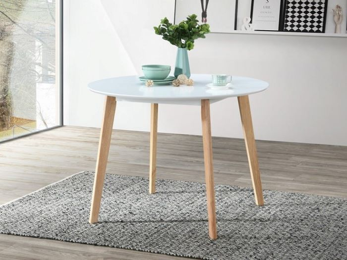 Room with Modern Dining Furniture containing Claire Round Dining Table with White Top with Natural Hardwood Frame