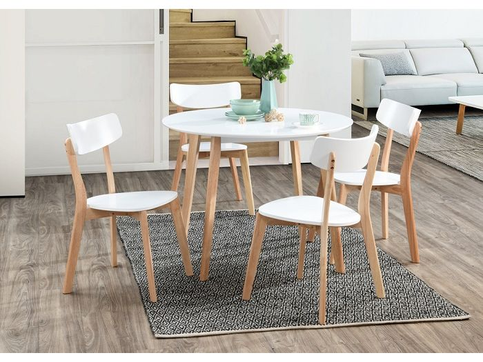 Front view of Room with Modern Dining Furniture containing Claire Round Dining Table with White Top with Natural Hardwood Frame