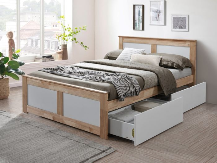 Room with Modern Bedroom Furniture containing Coco Natural & White double bed frame with storage