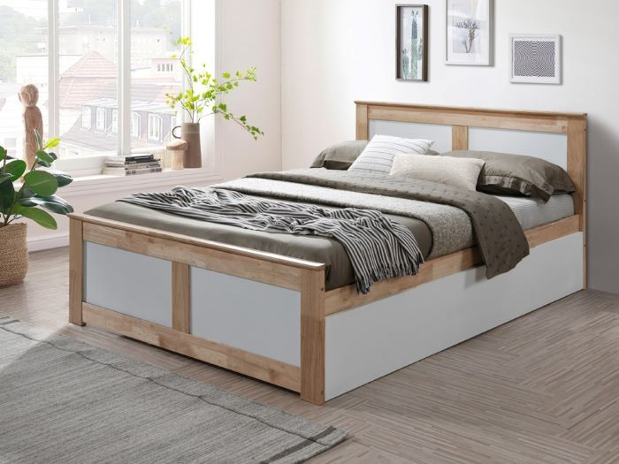 Room with Modern Bedroom Furniture containing Coco 4PCE Natural & White Double Bedroom Suite with trundle