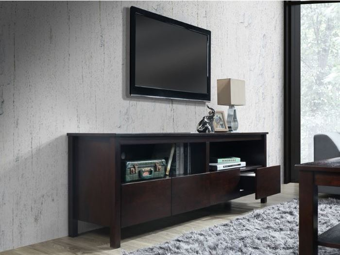 side view of Room with Modern Living Room Furniture containing Coco Entertainment Unit or TV Units built with Chocolate Hardwood