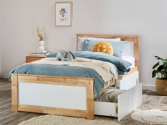 Room with Modern Bedroom Furniture containing Coco Natural & White single bed frame with storage