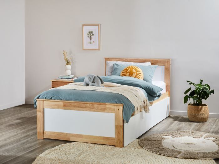 Rear View of Modern Bedroom Furniture containing Coco Natural & White single bed frame with trundle