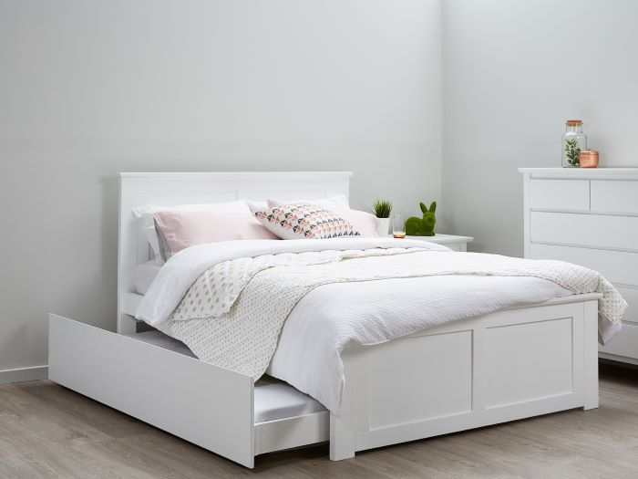 Room with Modern Teenage Bedroom Furniture containing Coco White double bed frame with trundle