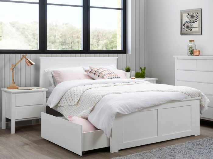 Room with modern bedroom furniture containing Coco 5PCE White Double Bedroom Suite with Storage