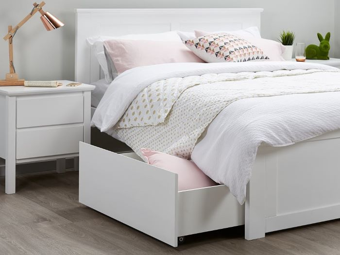 close up of Room with Modern Bedroom Furniture containing Myer white double bed frame with storage