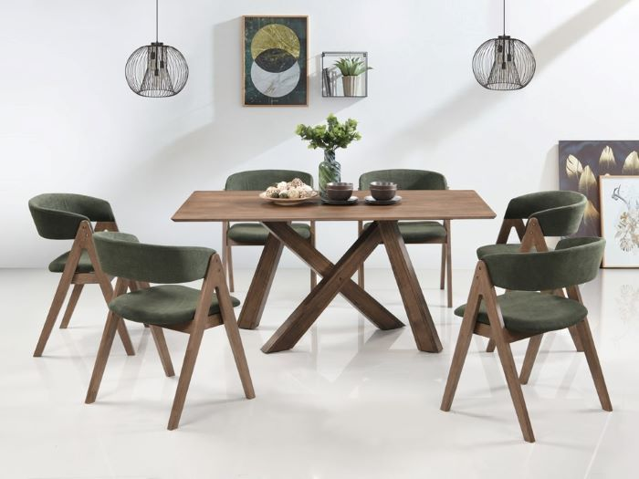 front view of modern dining and living room containing Gaudi 12PCE Home Dining & Living Furniture Package with rustic hardwood and green fabric