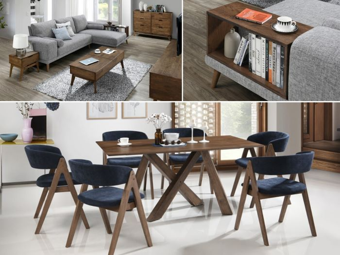 modern living & dining room containing Gaudi 12PCE Home Dining & Living Furniture Package with Rustic Hardwood and Navy Fabric