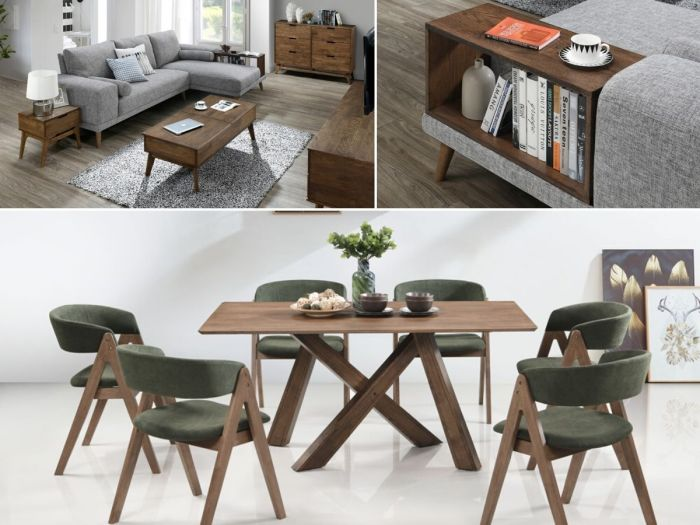modern dining and living room containing Gaudi 12PCE Home Dining & Living Furniture Package with rustic hardwood and green fabric