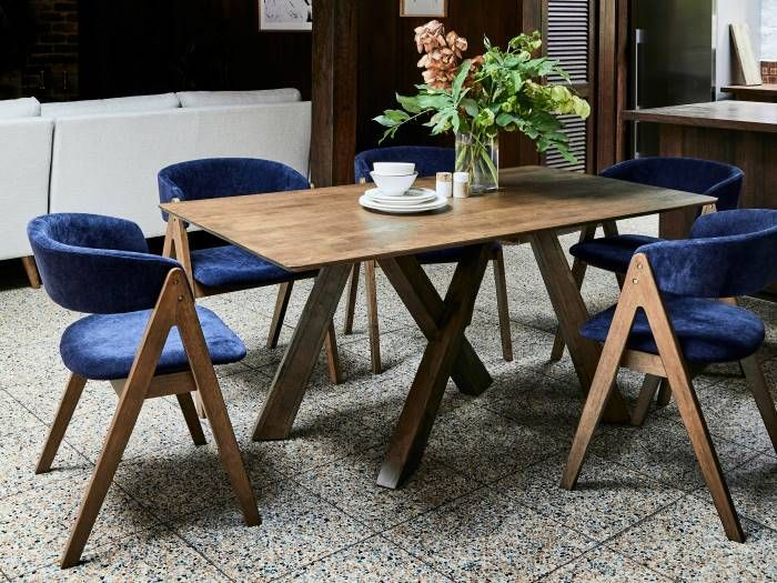 Room with Modern Dining Furniture containing Gaudi 7PCE Dining Set with Rustic Hardwood Table & Navy Blue Chairs