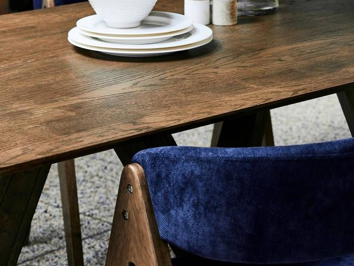 side view of Room with Modern Dining Furniture containing Gaudi 7PCE Dining Set with Rustic Hardwood Table & Navy Blue Chairs