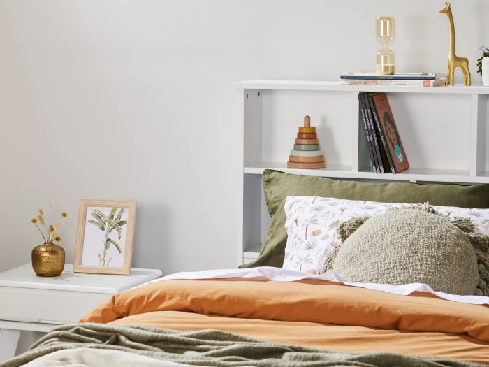 Close up of Room with Modern Kids Bedroom Furniture containing Myer 3PCE White King Single Bedroom Suite with trundle