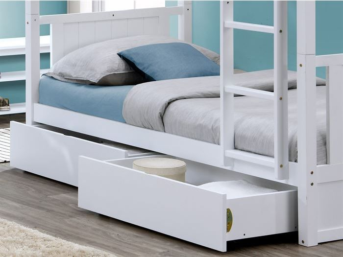 Close up of room with modern kids bedroom furniture containing Myer White Single Bunk Bed with Storage Drawers