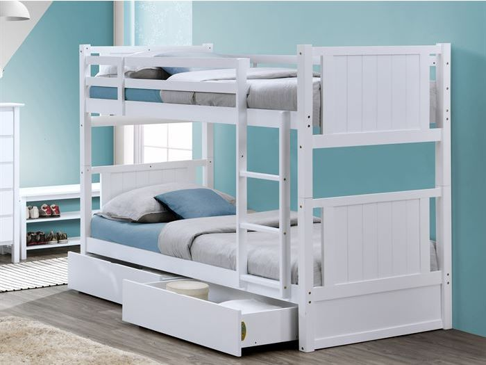 room with modern kids bedroom furniture containing Myer White Single Bunk Bed with Storage Drawers