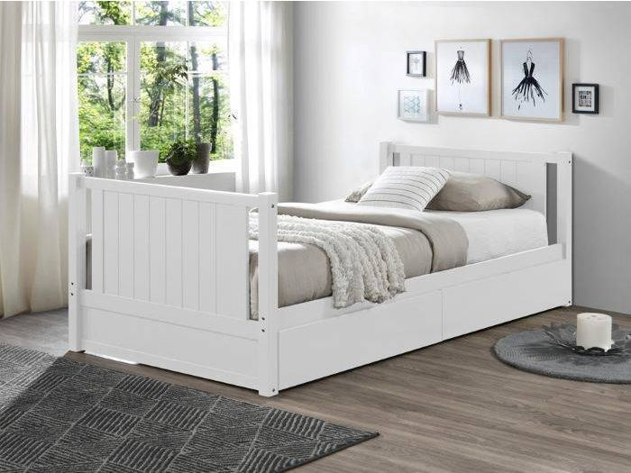 Side view of room with modern kids bedroom furniture containing Myer White Single Bunk Bed with Storage Drawers
