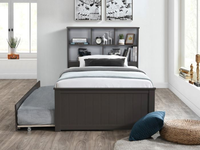 front view of Room with Modern kids Bedroom Furniture containing Myer King Single Bed with trundle in Grey