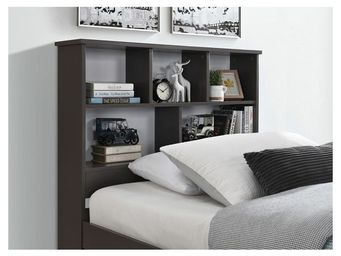 close up of Room with Modern kids Bedroom Furniture containing Myer King Single Bed with trundle in Grey