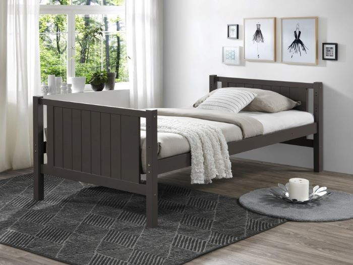 side view of Room with kids Modern Bedroom Furniture containing Myer King Single bunk bed with storage in Grey
