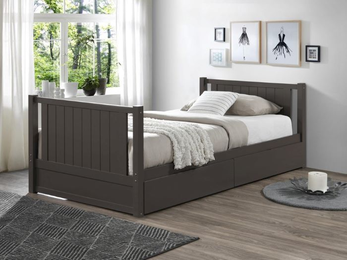 left view of Room with kids Modern Bedroom Furniture containing Myer King Single bunk bed with storage in Grey
