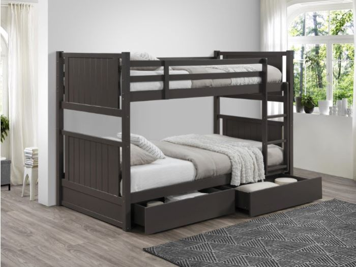 Room with kids Modern Bedroom Furniture containing Myer King Single bunk bed with storage in Grey