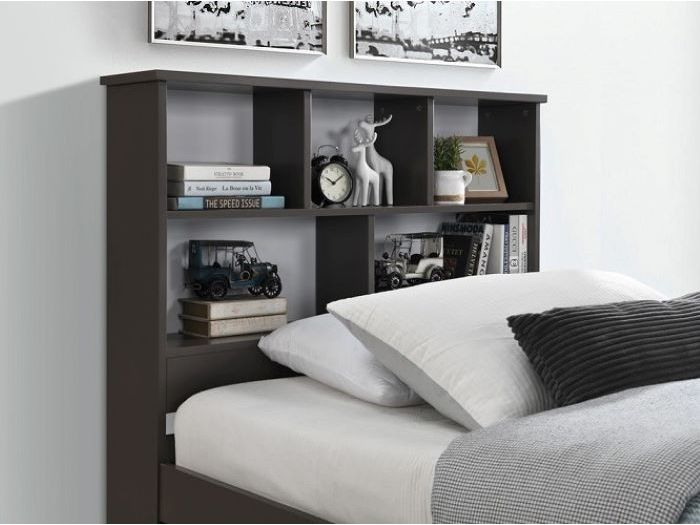 close up of Room with Modern kids Bedroom Furniture containing Myer King Single Bed with storage in Grey
