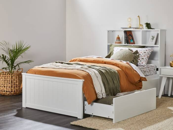 Room with Modern kids bedroom furniture containing Myer White King Single Bed with Storage & Bookshelf
