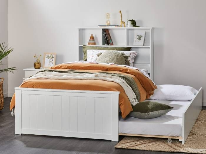 Room with Modern bedroom furniture containing Myer White King Single Bed with Trundle & Bookshelf