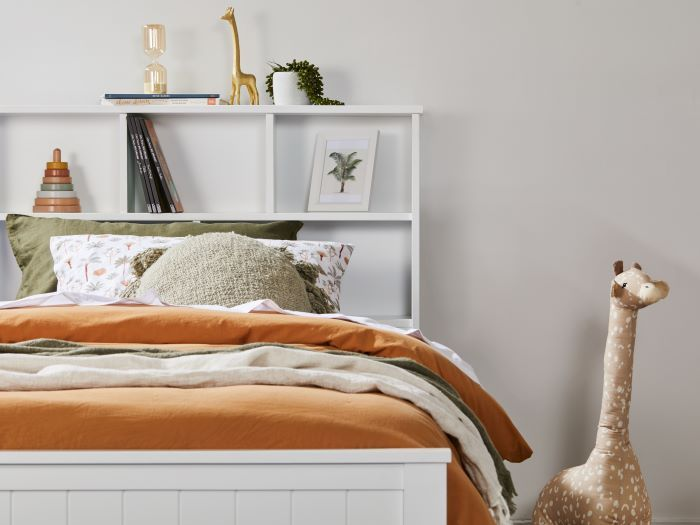 Close up of Room with Modern bedroom furniture containing Myer White King Single Bed with Trundle & Bookshelf