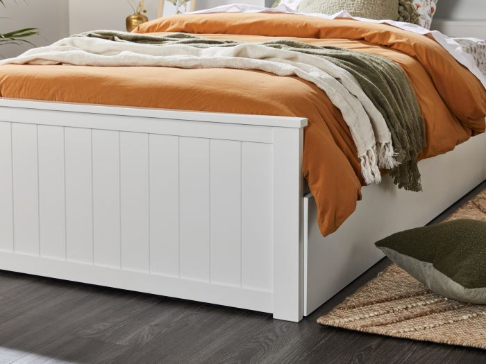 side view of Room with Modern bedroom furniture containing Myer White King Single Bed with Trundle & Bookshelf