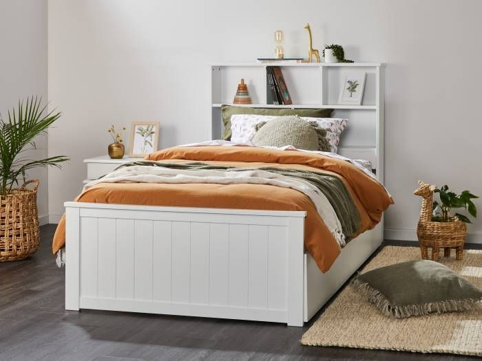 front view of Room with Modern bedroom furniture containing Myer White King Single Bed with Trundle & Bookshelf