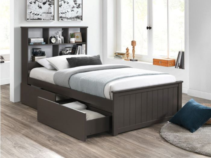 front view of Room with Modern Kids Bedroom Furniture containing Myer 4PCE Grey King Single Bedroom Suite with storage
