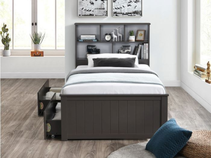 Room with Modern Kids Bedroom Furniture containing Myer 4PCE Grey King Single Bedroom Suite with storage